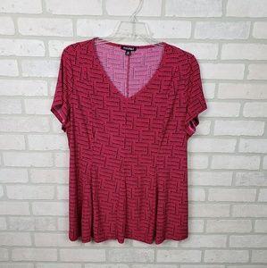 4/$25 Sale-Roz & Ali V-neck Tunic Pink/Black 2xl